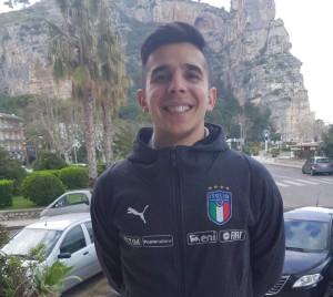 Luca Addarii con la maglia azzurra